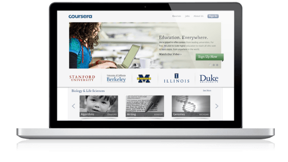 Screenshot of Coursera website