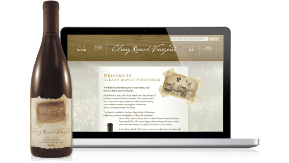 Photo of Cleary Ranch Vineyard wine bottle label and screenshot of website