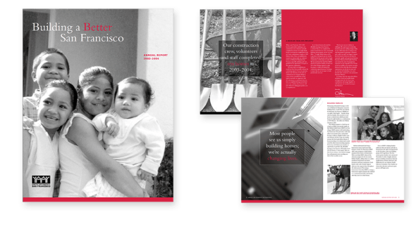 Cover and sample pages from Habitat for Humanity annual report