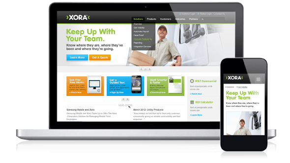 Screenshot of Xora desktop and mobile website
